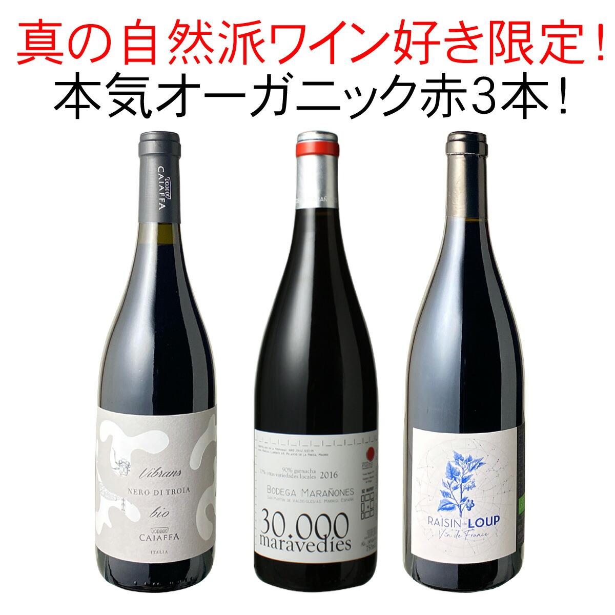ワインセット オーガニック 赤ワイン 3本 セット ユーロリーフ認定入 家飲み 御祝 誕生日 ハロウィン ギフト プレゼント オーガニック赤