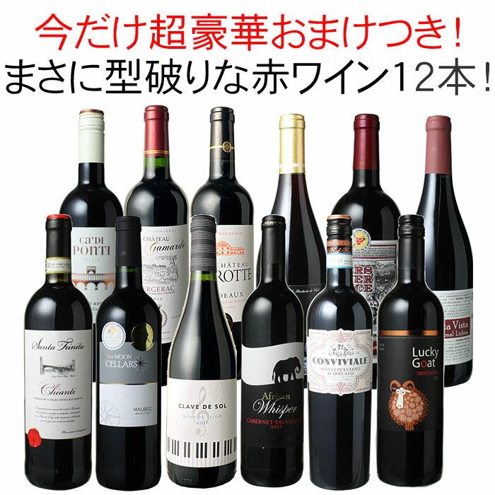 ワインセット 渾身 赤ワイン 12本 セット ボルドー フランス イタリア スペイン チリ ポルトガル 南アフリカ パーティー 家飲み 御祝 誕生日 ハロウィン ギフト 型破り赤