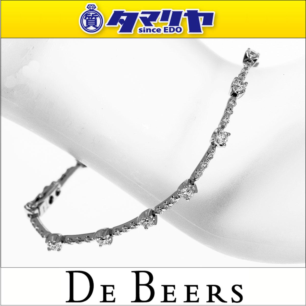 d9ac0868411a ... gucci | De Beers デ ビアス ダイヤ(D2.00ct) Line ライン ブレスレット 16cm 750 K18 WG  ホワイトゴールド 鑑別書 | 送料無料 | き手数料無料 | レディース ...