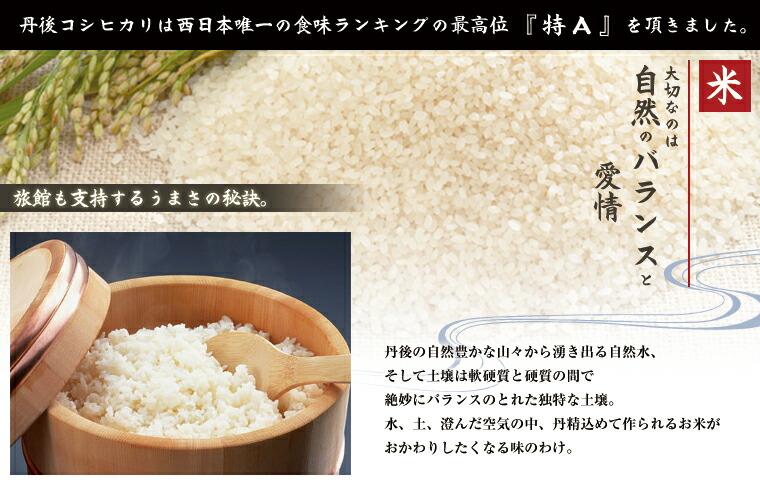 丹後の自然豊かな山々から湧き出る自然水、そして土壌は軟硬質と硬質の間で絶妙にバランスのとれた独特な土壌です。水、土、澄んだ空気の中丹精込めて作られるお米が 旅館からも支持されるうまさの秘訣。