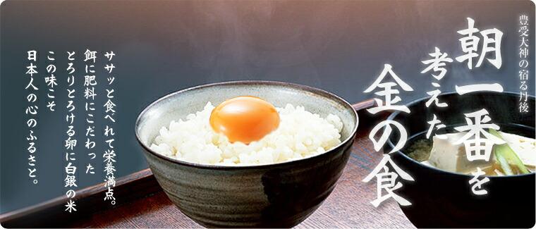 豊受大神の宿る丹後朝一番を考えた金の食 ササッと食べれて栄養満点。餌に肥料にこだわったとろりとろける卵に白銀の米この味こそ日本人の心のふるさと。