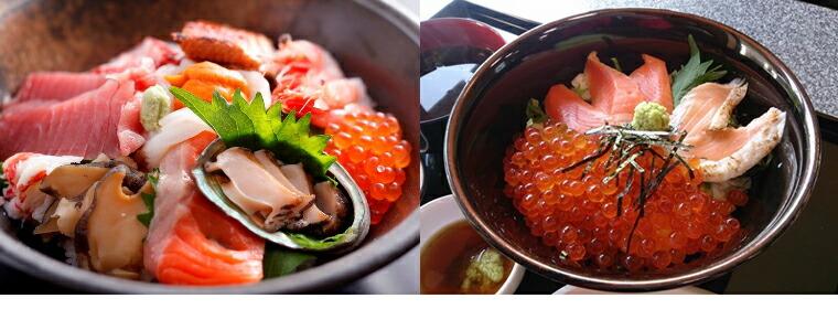 かにはん 海鮮丼 鮭の親子丼