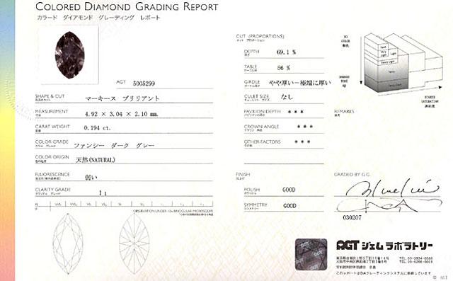 グレーダイヤモンド鑑定書画像