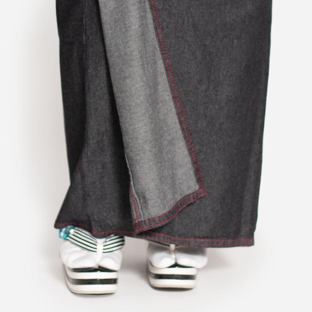 レディースの洗えるデニム着物と半幅帯のセット