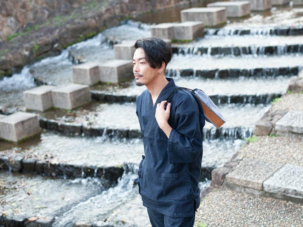 岡山県児島で制作したおしゃれな日本製デニム作務衣