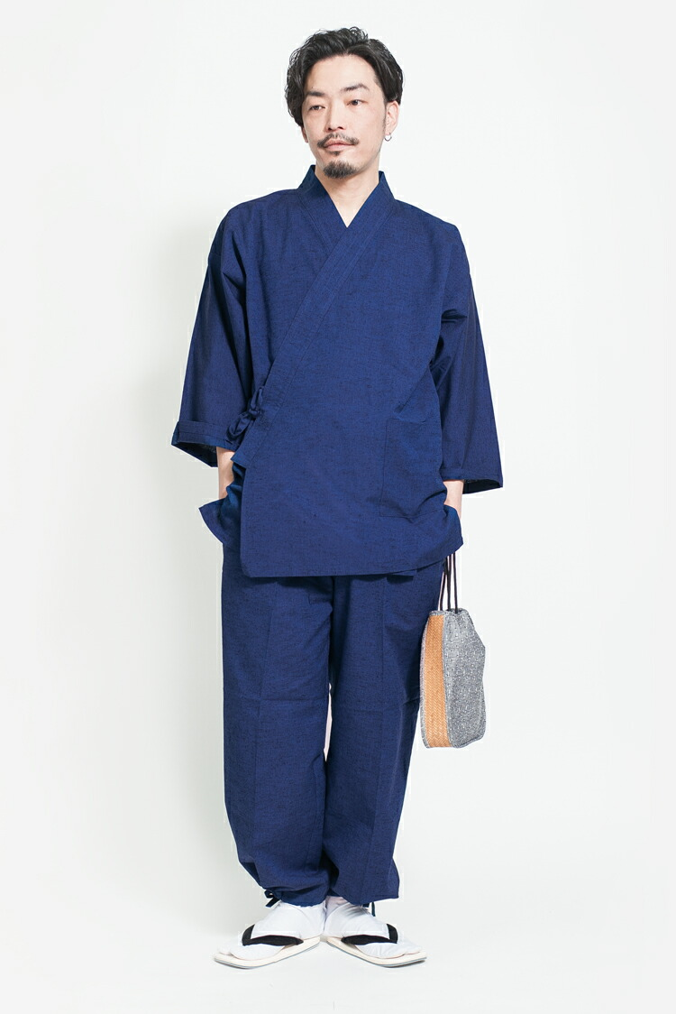 久留米織のシンプルな先染めメンズ作務衣