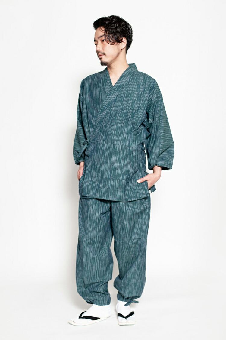 織物の街久留米で作られた通年着られる綿100%のメンズ作務衣