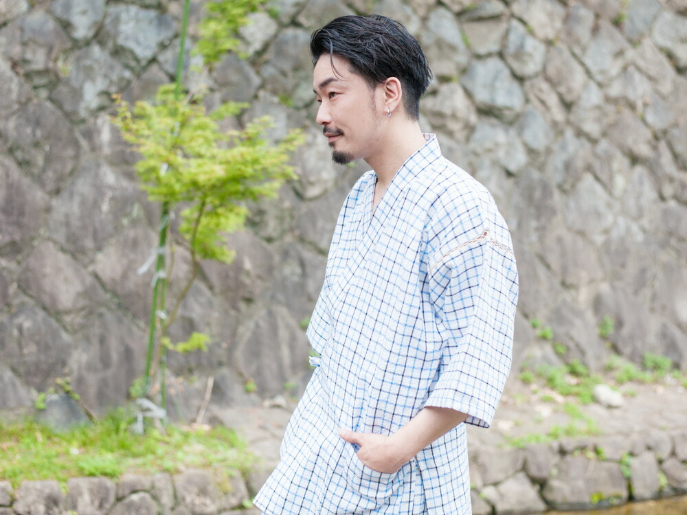 久留米しじら織で作った涼しくておしゃれな日本製メンズ甚平