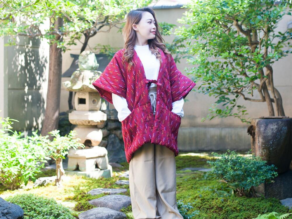 久留米紬織レディース袖なしはんてん