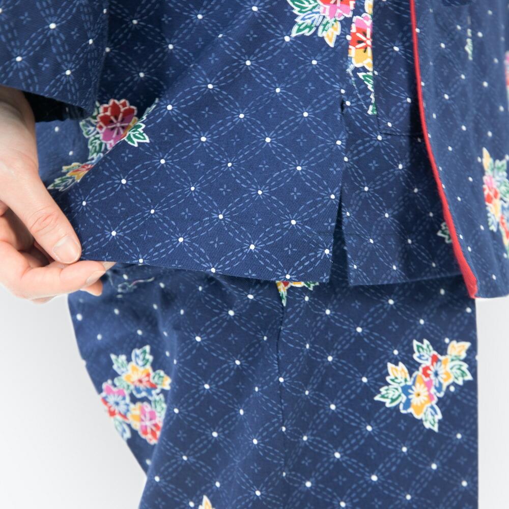 日本製生地使用のレディースプリント作務衣