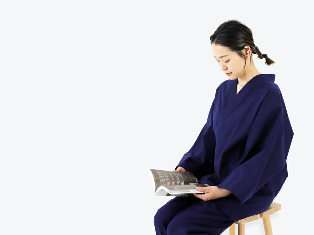 久留米織の生地を使ったレディース作務衣