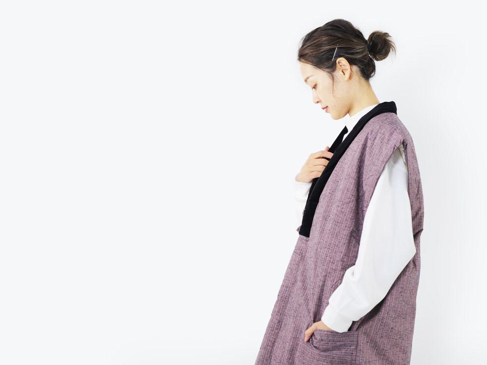 久留米織のおしゃれな袖なしレディースはんてん
