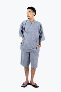 綿麻甚平メンズおしゃれパジャマ