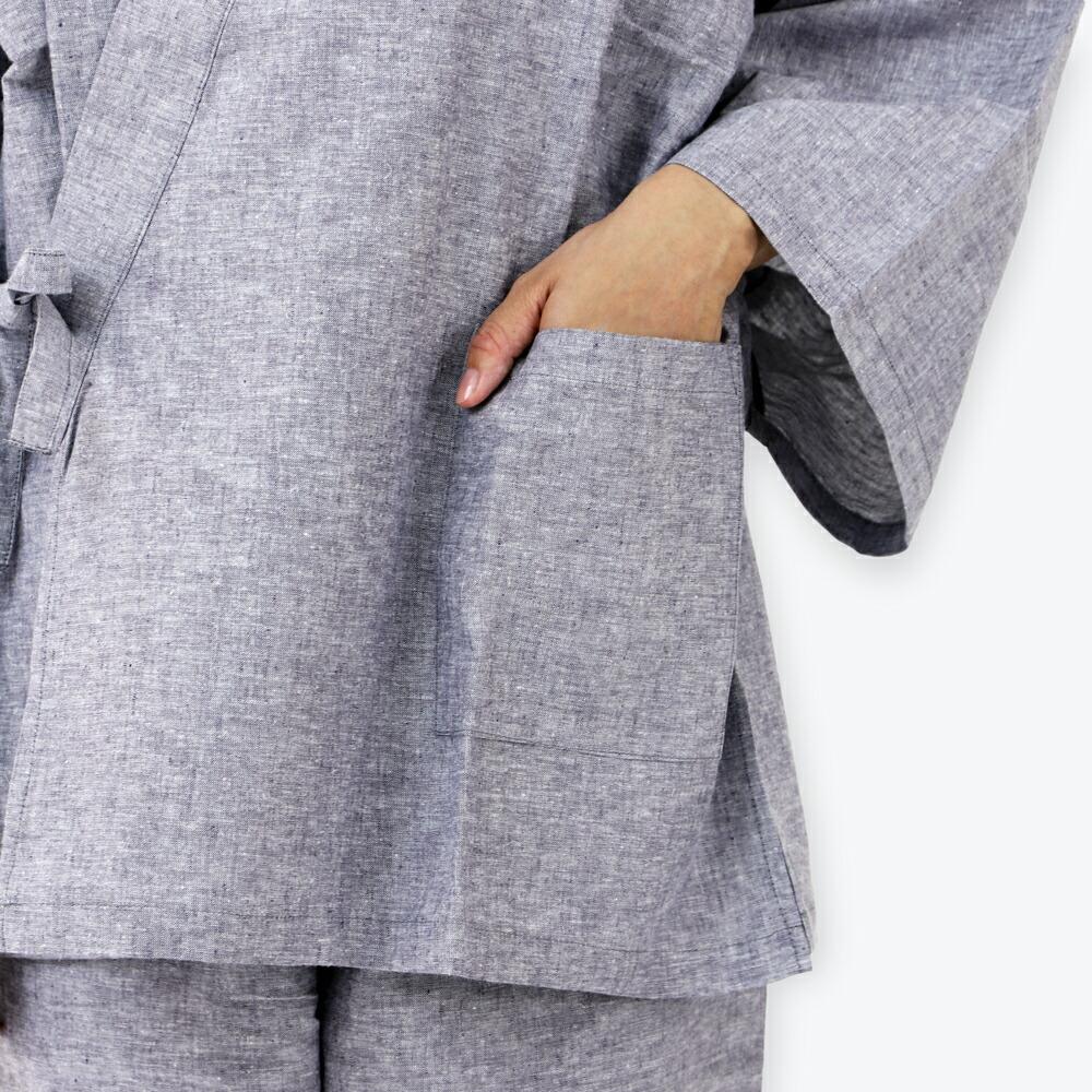 夏にぴったりな快適素材麻混レディース作務衣