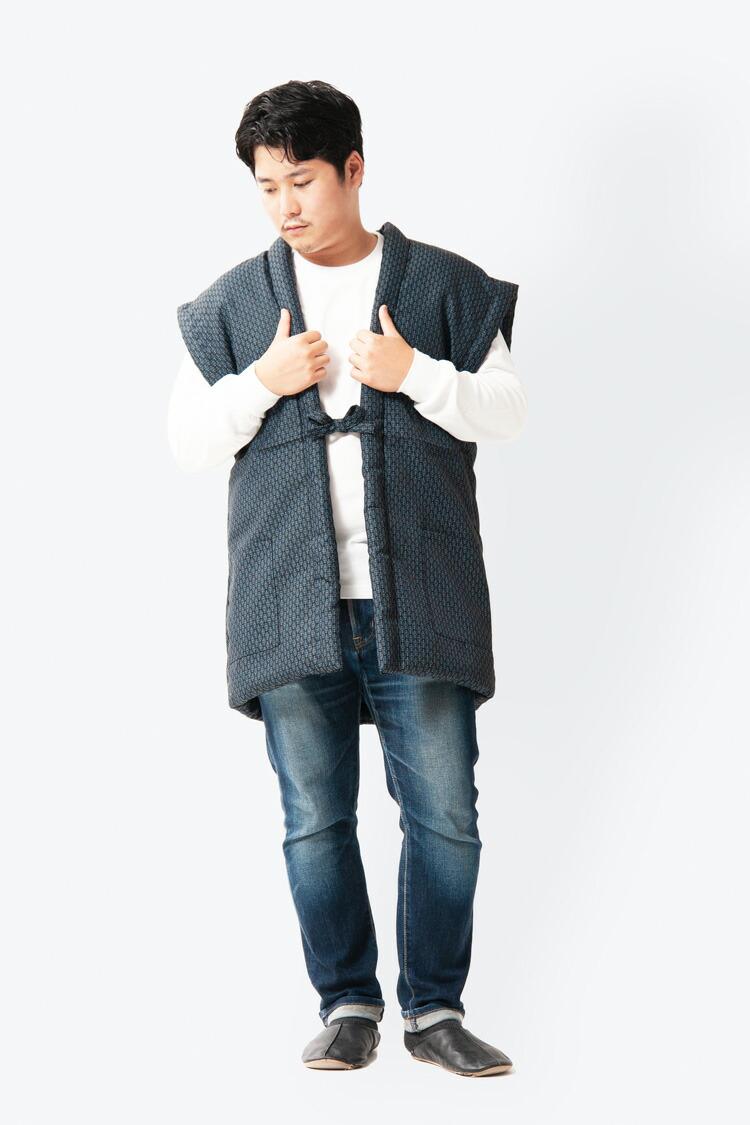 久留米織のおしゃれな袖なしメンズはんてん