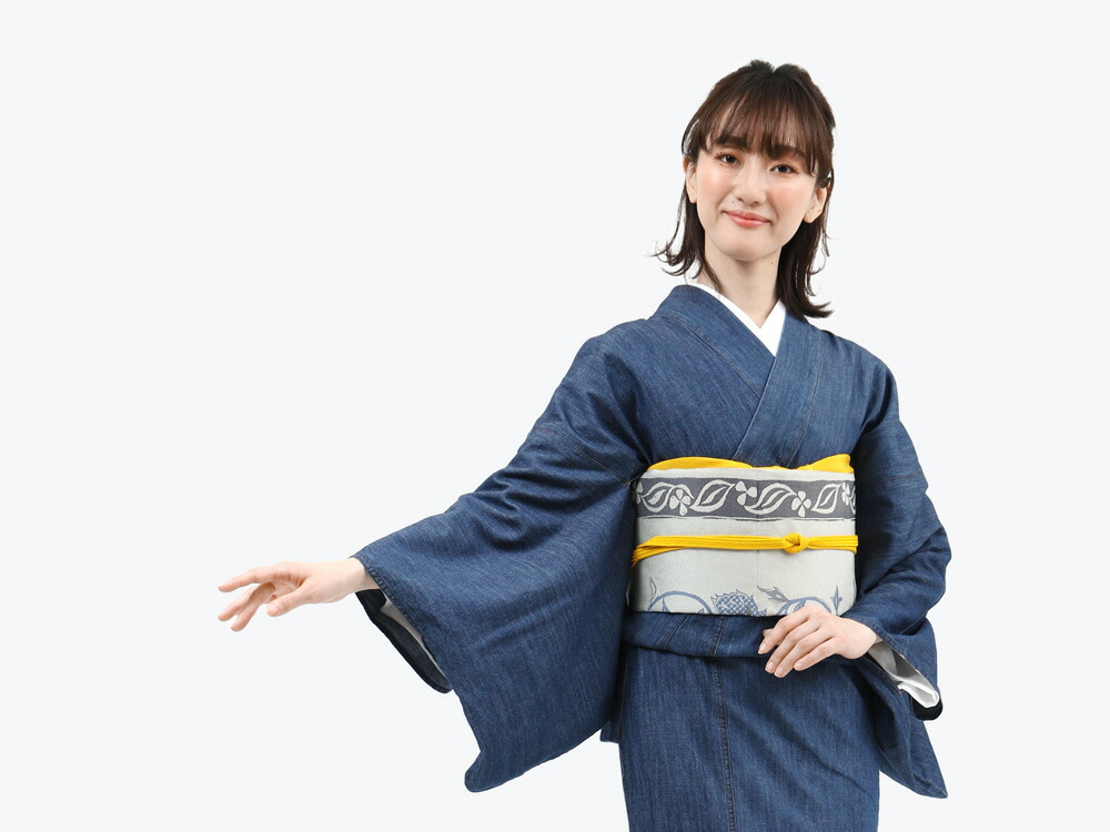 たゆたふセレクトのデニム着物と名古屋帯の2点セット