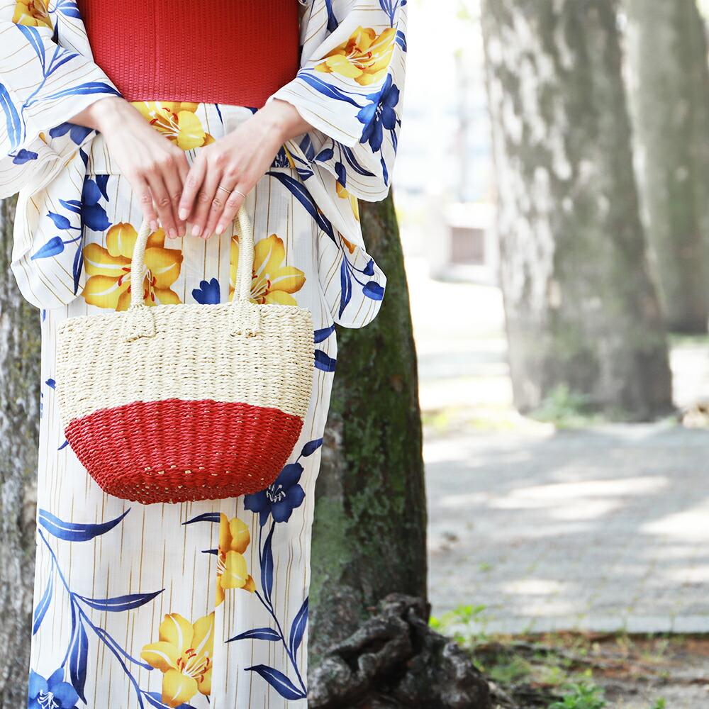 和装にも洋装にも丸型トートかごバッグ