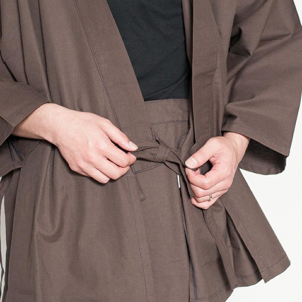 久留米織の双糸で作られた日本製メンズ作務衣