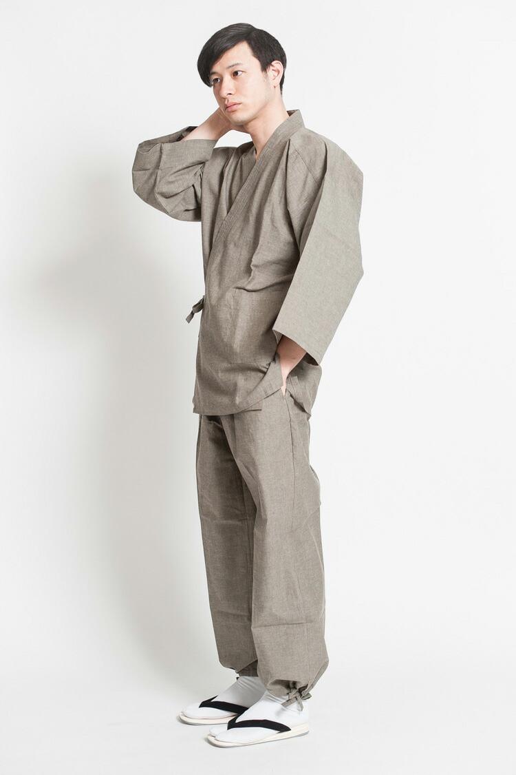 上質な麻混素材で制作したメンズ作務衣