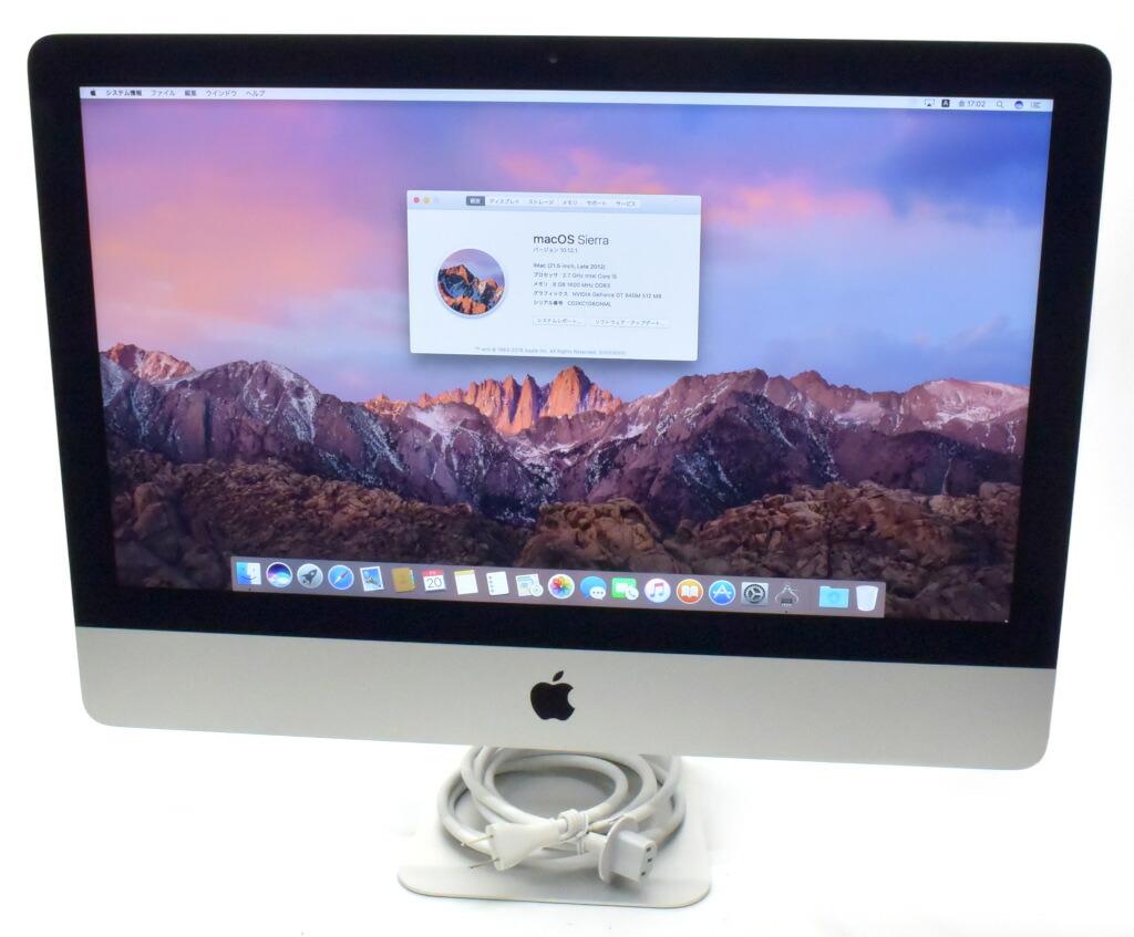 Apple iMac 21.5インチ Core i5-3330S 2.7GHz 8GB 1TB GT640M 1920x1080 Sierra 10.12.1 Late 2012