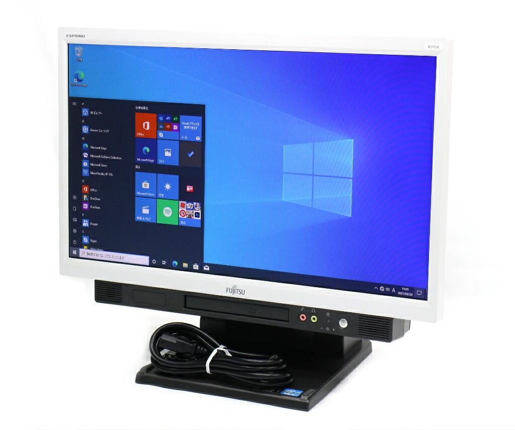富士通 ESPRIMO K555/K Core i3-4100M 2.5GHz 4GB 128GB 20インチ HD+ 1600x900 Windows10 Pro 64bit
