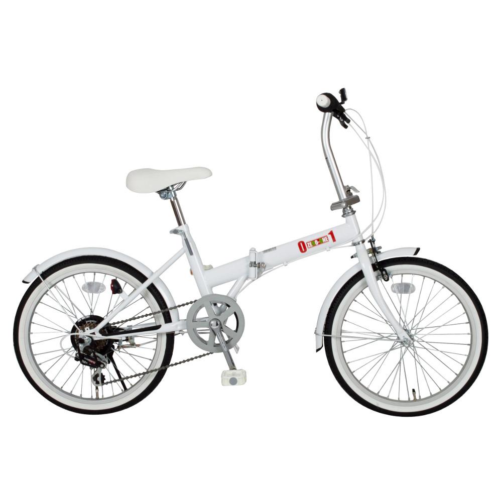 【メーカー在庫限り】ミムゴ 20インチ折り畳み自転車 ZERO-ONE(ゼロワン) MG-ZRE206-WH ゼロワンFDB20 6S ホワイト【代引き・時間指定不可】