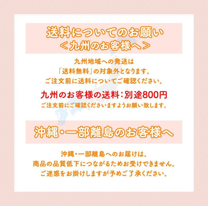 送料についてのお願い <九州のお客様へ> 沖縄・一部離島のお客様へ