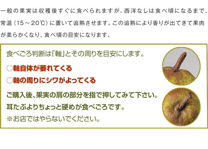 一般の果実は収穫後すぐに食べられますが、西洋なしは食べ頃になるまで、常温(15〜20℃)に置いて追熟させます。この追熟により香りが出てきて果肉が柔らかくなり、食べ頃の目安になります。食べごろ判断は「軸」とその周りを目安にします。○軸自体が萎れてくる○軸の周りにシワがよってくるご購入後、果実の肩の部分を指で押してみて下さい。耳たぶよりちょっと硬めが食べごろです。※お店ではやらないでください。