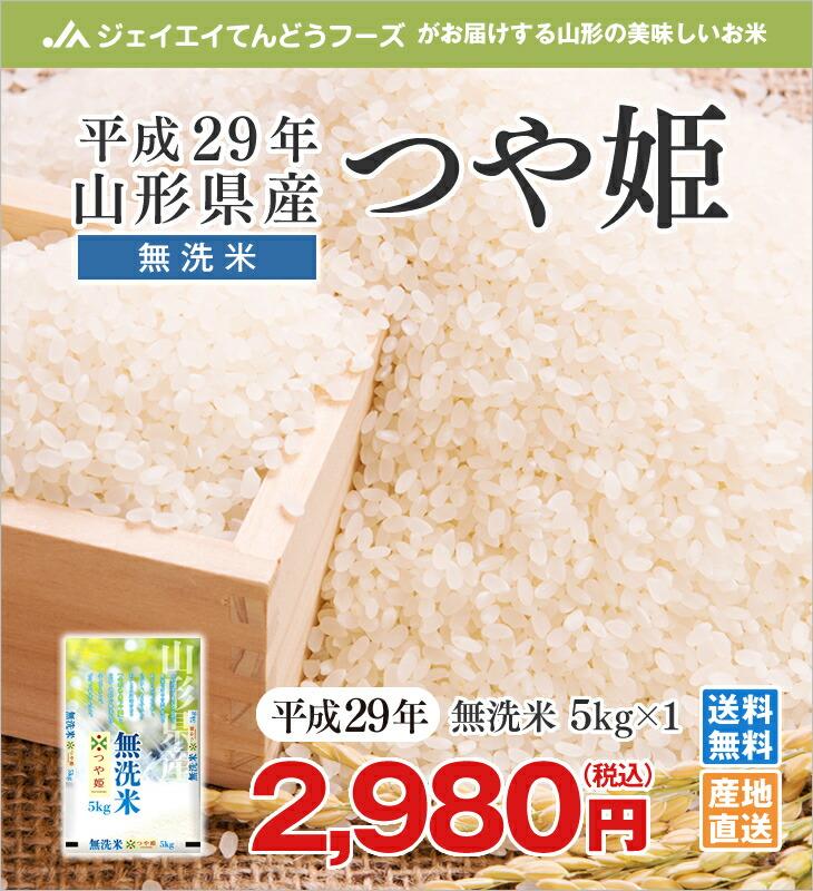 平成29年山形県産つや姫無洗米5kg×1