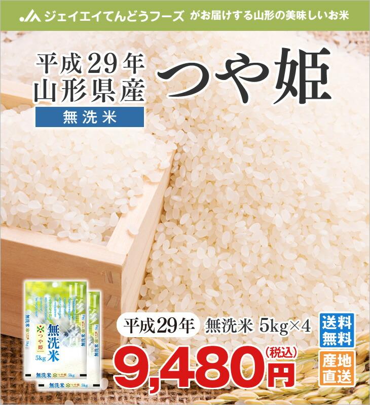 平成29年山形県産つや姫無洗米5kg×4