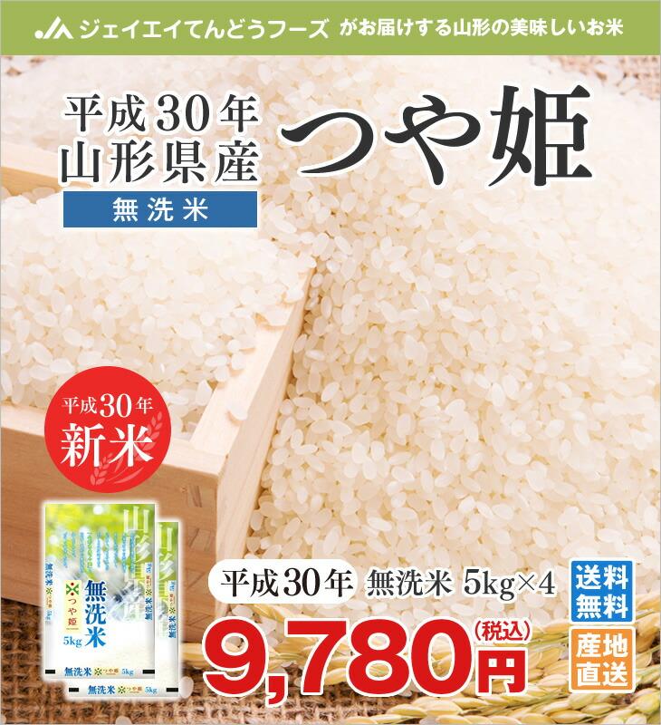 平成30年山形県産つや姫無洗米5kg×4