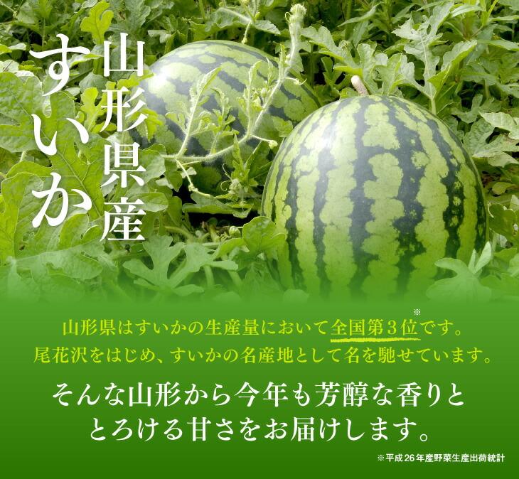 山形県産すいか | 山形県はすいかの生産量において全国第3位です。尾花沢をはじめ、すいかの名産地として名を馳せています。そんな山形から今年も芳醇な香りととろける甘さをお届けします。