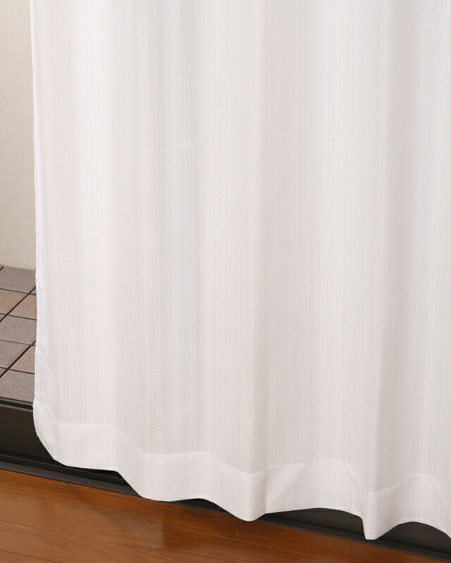 夜も見えにくい断熱UVカットストライプミラーレースカーテン4167ホワイトの写真【カーテン天国】