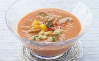マッシュルームとトマトの冷製スープ