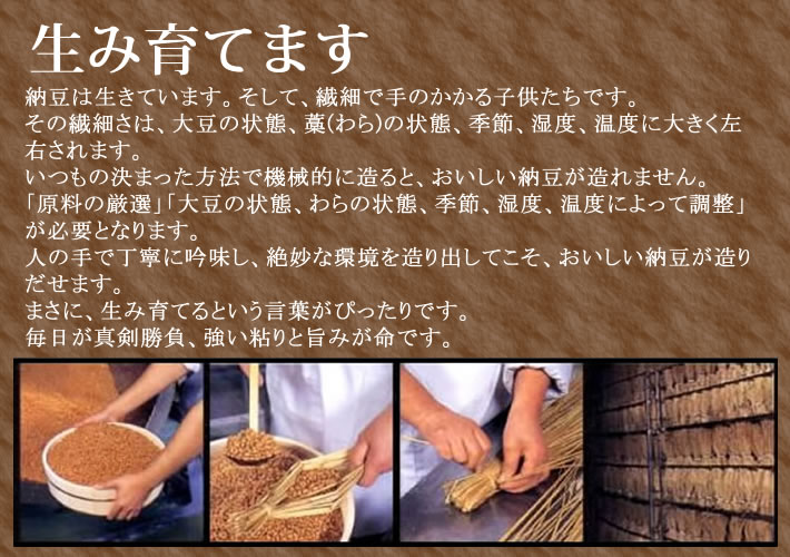 納豆は生きています。そして、繊細で手のかかる子供たちです。その繊細さは、大豆の状態、藁(わら)の状態、季節、湿度、温度に大きく左右されます。いつもの決まった方法で機械的に造ると、おいしい納豆が造れません。「原料の厳選」「大豆の状態、わらの状態、季節、湿度、温度によって調整」が必要となります。人の手で丁寧に吟味し、絶妙な環境を造り出してこそ、おいしい納豆が造りだせます。まさに、生み育てるという言葉がぴったりです。毎日が真剣勝負、強い粘りと旨みが命です。