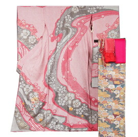振袖セット 新品未仕立て品 総絞り振袖と袋帯、長襦袢、帯揚げ、帯締め、重ね衿の6点セット 総絞りに手鞠模様 ★送料無料 【 リサイクル着物 中古品 着物 帯 きもの 正絹 kimono リサイクル着物 着物セット アンティーク着物 着物買い取り 着物買取 きもの天陽 きものてんよう 中古 】
