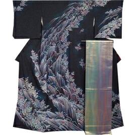 着物セット 訪問着・袋帯 2点セット 滝に枝花模様 三越 黒色系 ぼかし  【送料無料 中古】