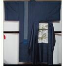 男着物 大島紬 アンサンブル 着物・羽織・角帯 3点セット Mサイズ Lサイズ 濃紺色 正絹 メンズ 着物 紬 【送料無料 中古】