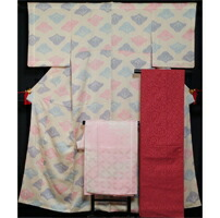 着物セット 小紋・洒落袋帯・長襦袢 3点 セット 抽象植物模様 薄卵色 絞り 小紋 帯