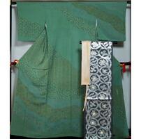 着物セット 染型紙工芸師 細合俊男 訪問着と西陣服部織物袋帯、帯揚げ、帯〆の4点セット 送料無料 訪問着 【中古】