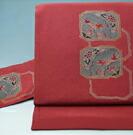 名古屋帯 裂取花鳥模様 ちりめん 染め帯 正絹   送料無料
