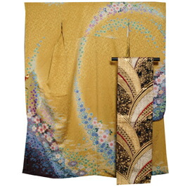 振袖セット 振袖 袋帯 2点 セット ぼかしに百花模様 緑黄色 ラメ 刺繍 振袖 着物 セット  【送料無料 中古】