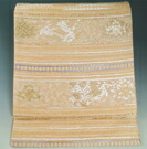 袋帯 幻の絹 歓喜小石丸 宮廷唐織 横段に唐花・龍模様 金色 金糸 六通柄 小石丸 唐織