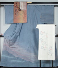 着物セット 染め大島紬洒落訪問着と洒落袋帯、長襦袢、帯揚げ、帯〆の5点セット 大島 紬 【送料無料】