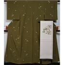 着物セット 小紋・名古屋帯 2点 セット 刺繍の地紙模様 刺繍 小紋 名古屋帯 塩瀬  【送料無料 中古】