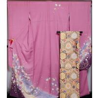振袖 セット 新品 仕立て上がり 振袖・袋帯・長襦袢 3点 セット ピンクぼかし地に桜模様 ピンク色 裄長サイズ 振袖 着物 セット