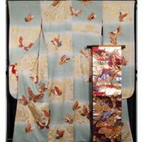 振袖セット 振袖・袋帯 2点 セット 裄長・トールサイズ 蒔き糊に市松枝花・胡蝶模様 乳白色系 振袖 着物 セット
