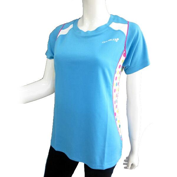 【DOUBLE3(ダブルスリー / ダブル3)】 レディース DW-5280 マルチ水玉 ランニングTシャツ ライトブルー / ライトグリーン / イエロー / ピンク (DW5280LB)