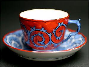 赤濃蛸唐草デミタスコーヒーカップ&ソーサー
