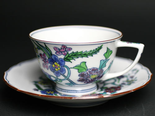 豆彩花蝶紋珈琲碗皿